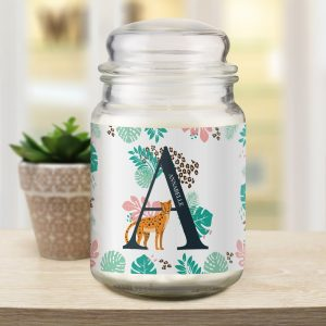 Personalised Leopard Initial Candle Jar