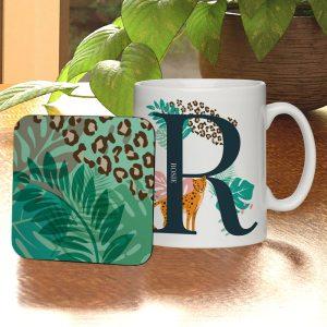 Personalised Leopard Initial Mug & Coaster