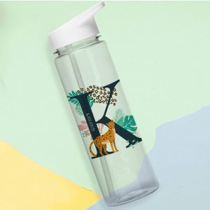 Personalised Leopard Initial Water Bottle