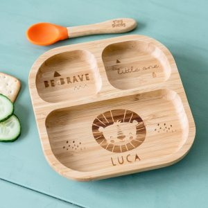 Personalised Lion Bamboo Suction Plate & Spoon