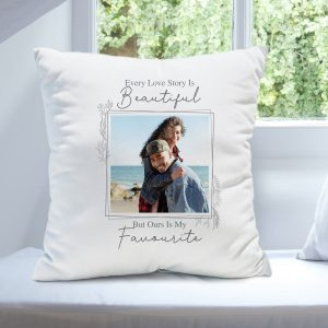 Personalised Love Story Photo Upload Cushion