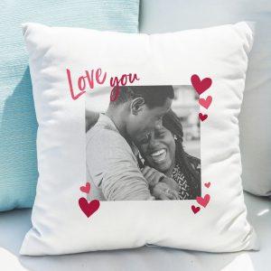 Personalised Love You Photo Upload Cushion