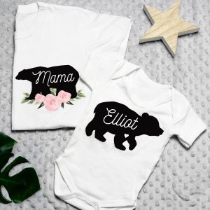 Personalised Mother & Baby Mama Bear T-Shirt & Vest Set (Medium & 0-3mths)