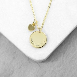 Personalised Polished Heart & Disc Gold Necklace