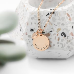 Personalised Polished Heart & Disc Rose Gold Necklace