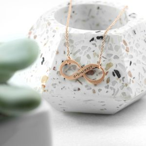 Personalised Rose Gold Infinity Twist Necklace