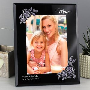 Personalised Rose Sketch 5x7 Black Glass Photo Frame