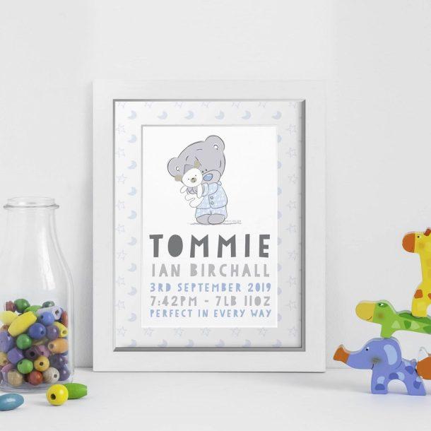 Personalised Tiny Tatty Teddy New Baby Framed Print