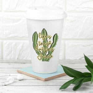 Personalised Tough As Cactus Eco Travel Mug