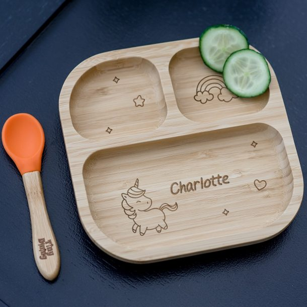 Personalised Unicorn Bamboo Suction Plate & Spoon