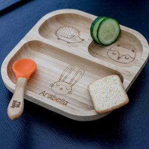 Personalised Woodland Bamboo Suction Plate & Spoon