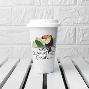 Personalised Yes Toucan Eco Travel Mug
