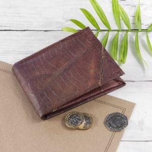 Vegan Leaf Leather Men's Wallet in Chestnut Brown