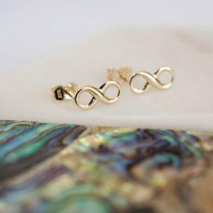 Gold Infinity Earrings & Personalised Gift Box