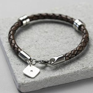 Hand Stamped Square Tag Leather Wristband & Personalised Gift Box
