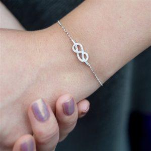 Infinity Cubic Zirconia Bracelet & Personalised Gift Box