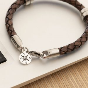 Leather Wristband With Sterling Compass Pendant