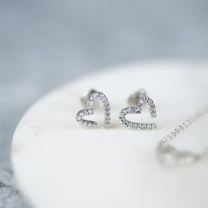 Modern White Gold Diamond Heart Earrings & Personalised Gift Box