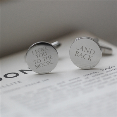 Moon & Back Silver Cufflinks & Personalised Gift Box