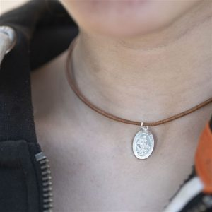 Oval Sterling St Christopher & Leather Necklace
