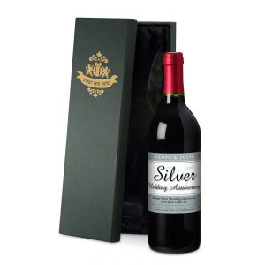 Personalised 25th Anniversary Red Wine & Silk Lined Gift Box
