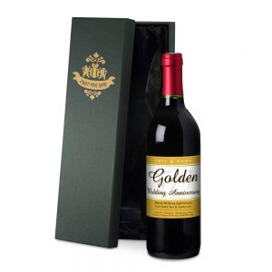 Personalised 50th Anniversary Red Wine & Silk Lined Gift Box