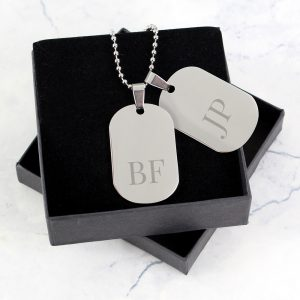 Personalised Big Initials Stainless Steel Double Dog Tag Necklace