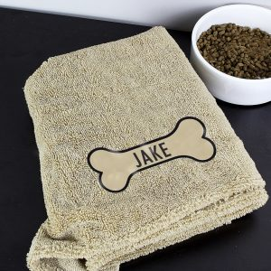 Personalised Bone Brown Microfiber Pet Towel