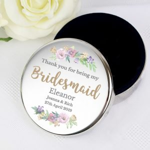 Personalised Bridesmaid 'Floral Wedding' Round Trinket Box