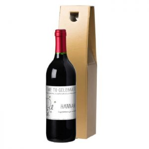 Personalised Chilli & Bubbles Keep Calm & Celebrate Red Wine & Gold Gift Box