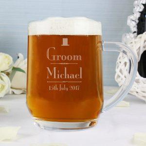 Personalised Decorative Wedding Groom Glass Tankard