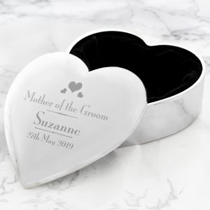 Personalised Decorative Wedding Mother of the Groom Heart Trinket Box