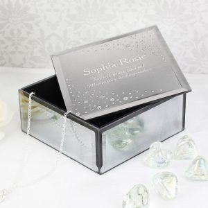Personalised Diamante Name & Message Glass Trinket Box