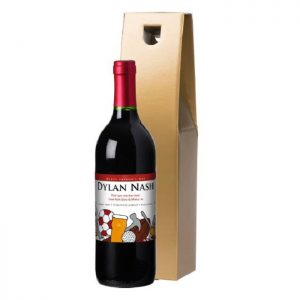 Personalised Father's Day Montage Red Wine & Gold Gift Box