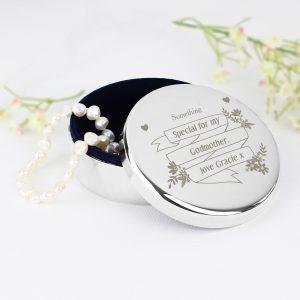 Personalised Garden Bloom Round Trinket Box