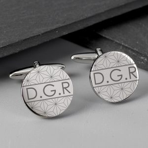 Personalised Geometric Round Cufflinks