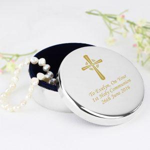 Personalised Gold Cross Trinket Box
