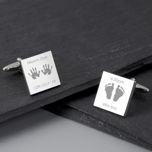 Personalised Hands & Feet New Baby Square Cufflinks