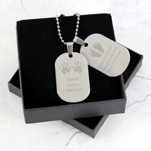 Personalised Hands & Feet New Baby Stainless Steel Double Dog Tag Necklace