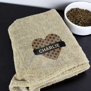 Personalised Heart Brown Microfiber Pet Towel