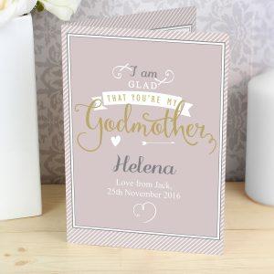 Personalised I Am Glad... Godmother Card