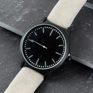 Personalised Mens Matte Black Watch with Grey Strap & Presentation Box