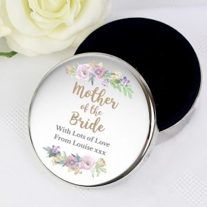 Personalised Mother of the Bride 'Floral Wedding' Round Trinket Box
