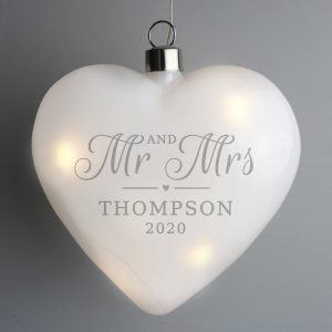 Personalised Mr & Mrs LED Hanging Glass Heart