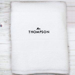 Personalised 'Mr' White Bath Towel