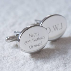 Personalised Oval Cufflinks & Personalised Gift Box
