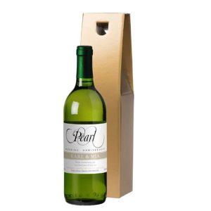 Personalised Pearl Anniversary White Wine & Gold Gift Box