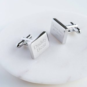 Personalised Rectangular Cufflinks & Personalised Gift Box