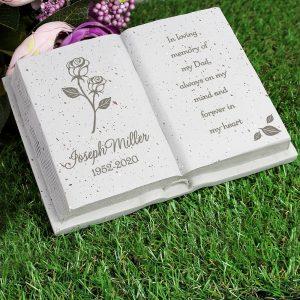 Personalised Rose Memorial Book