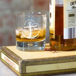 Personalised Ship Faced Whisky Glass
